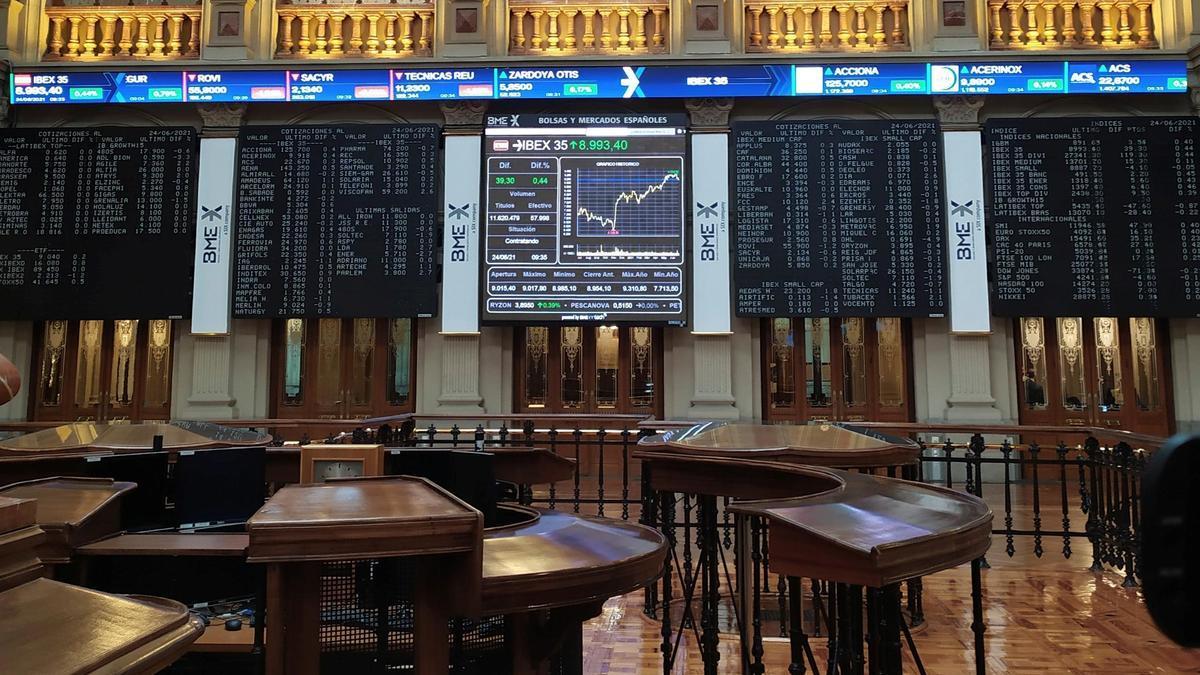Panel en la Bolsa de Madrid.