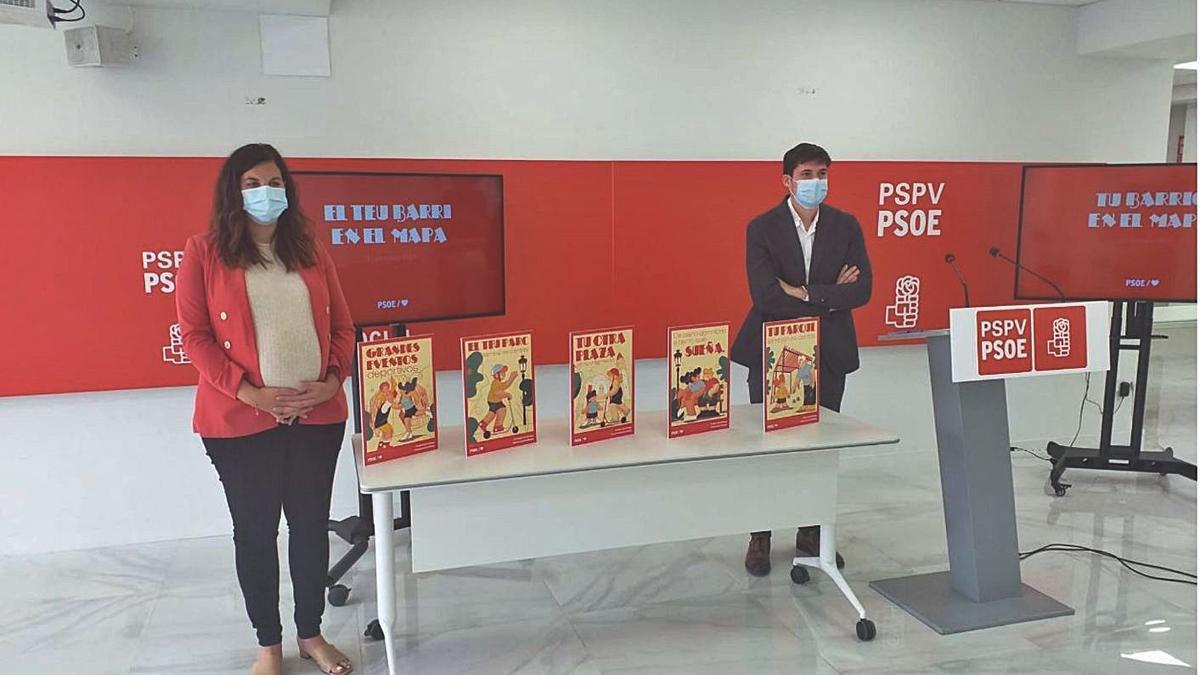 Sandra Gómez y Borja Sanjuán presentaron ayer la nueva campaña política y ciudadana.   LEVANTE-EMV