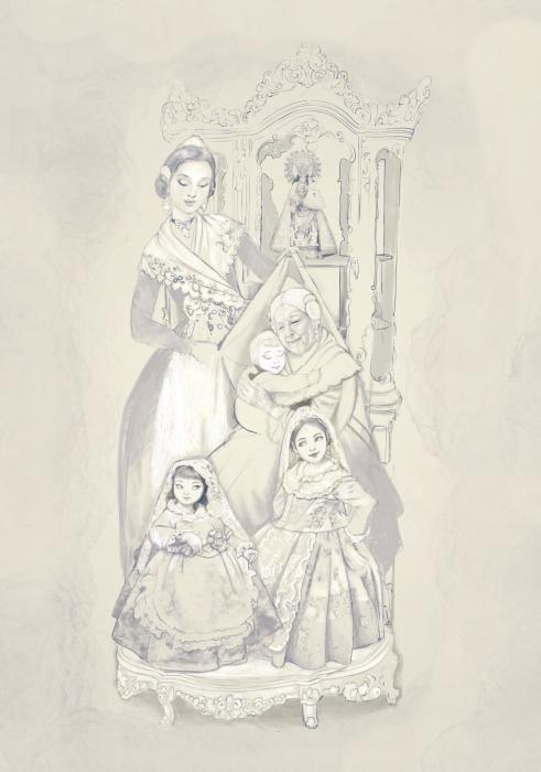 Efectivamente, la anciana estaría sentada y no habría una nieta, sino dos niñas y un bebé.
