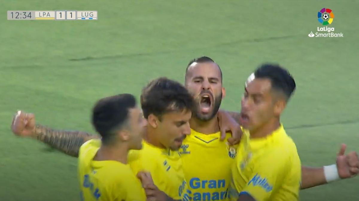 Jesé celebra su primer gol con la UD Las Palmas
