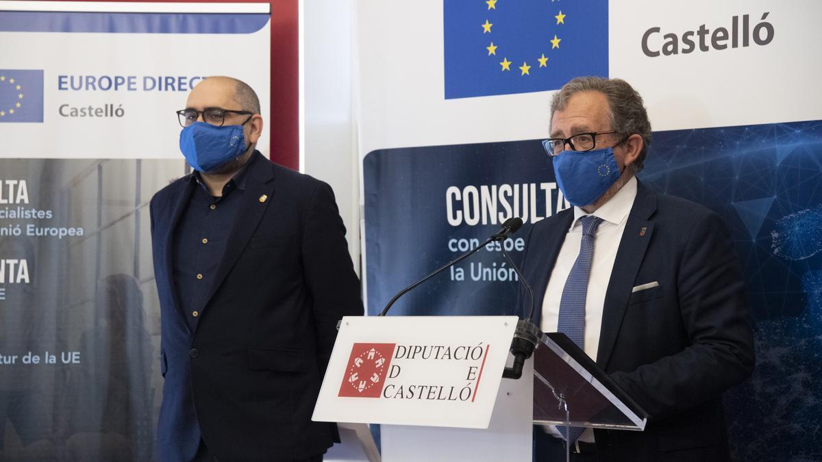 El presidente de la Diputación de Castellón, José Martí, durante su intervención de este martes.