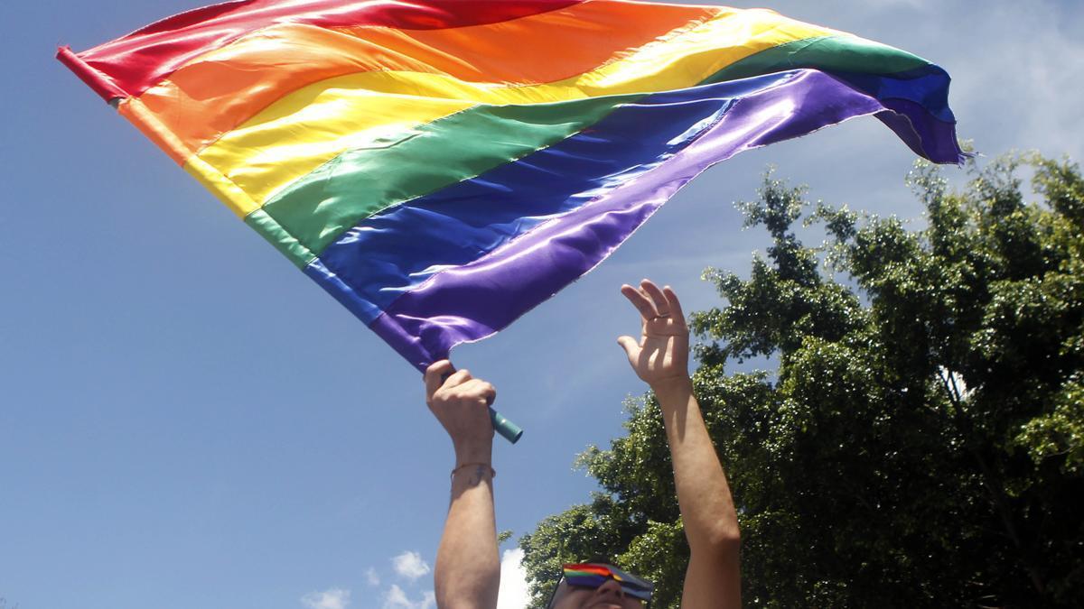 Un joven con la bandera LGTBI.