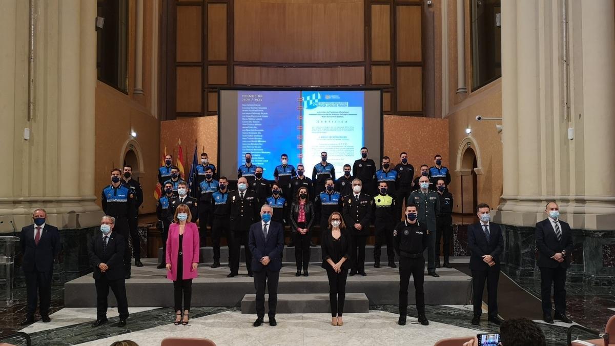 Acto de clausura del XXIV Curso de Formación para Ingreso como Funcionario de Carrera en los cuerpos de Policía Local de Aragón.