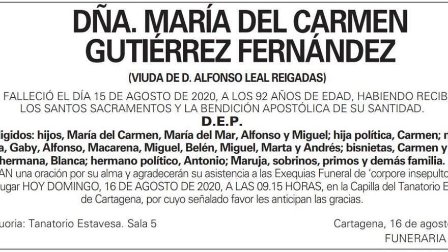Dña. María del Carmen Gutiérrez Fernández