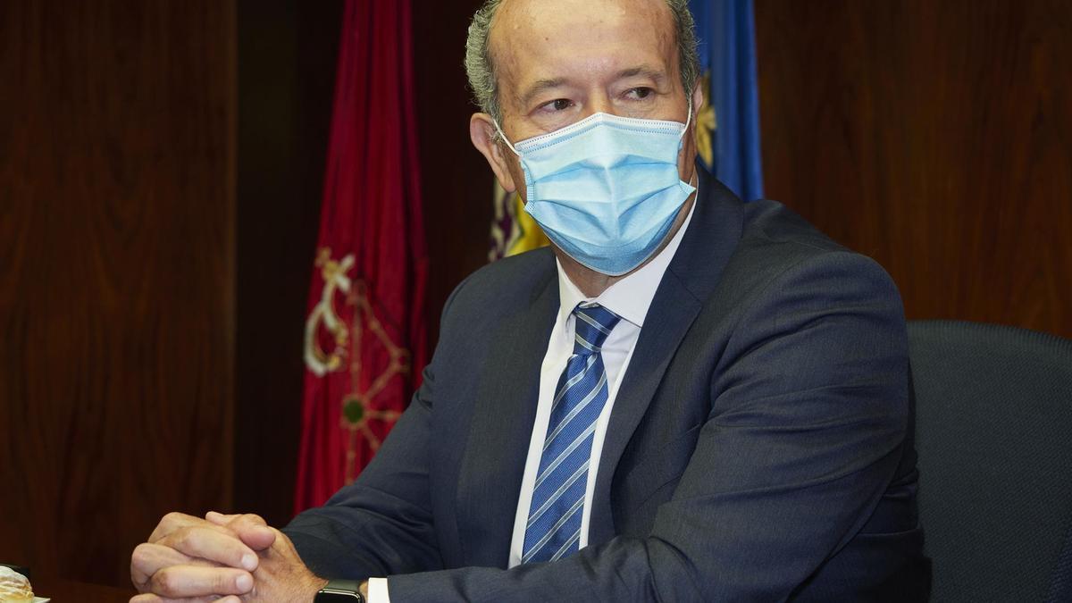 El ministro de Justicia, Juan Carlos Campo, durante una reunión con la Sala de Gobierno del Tribunal Superior de Justicia de Navarra (TSJN). - Eduardo Sanz - Europa Press