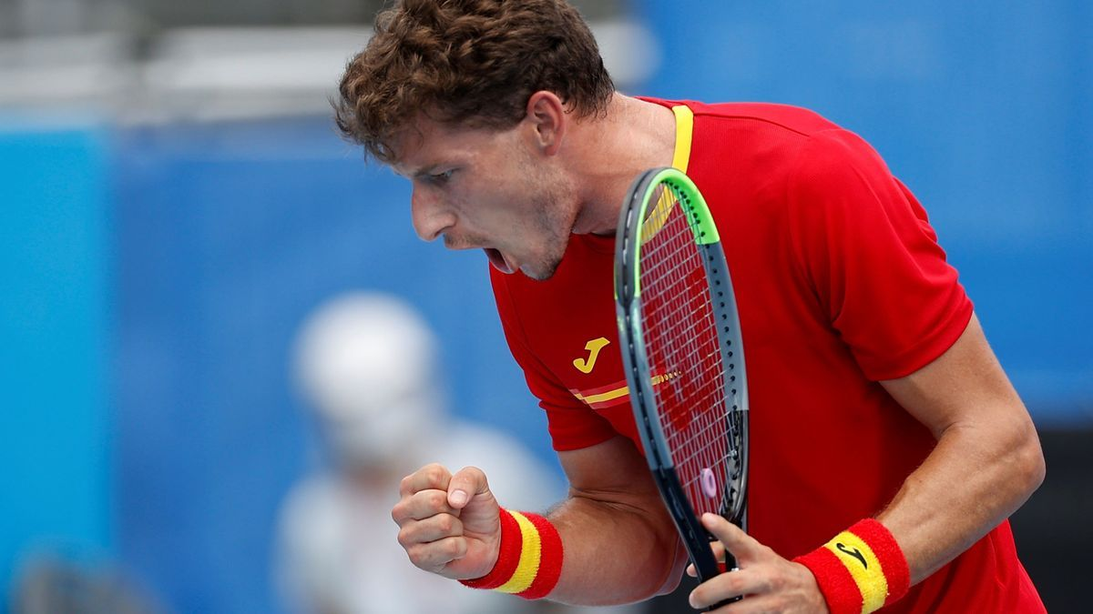 El tenista asturiano Pablo Carreño celebra su victoria ante Koepfer.