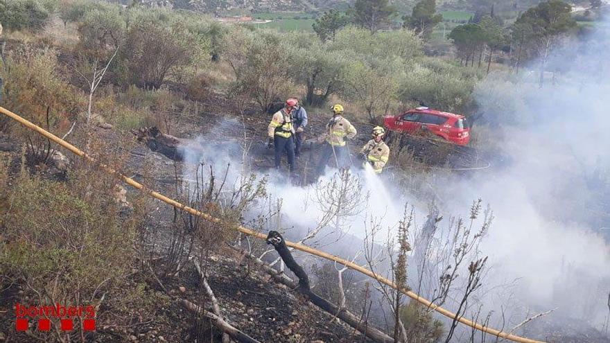 Un incendi arrasa 900 metres quadrats de vegetació als Sucarrats, a Boadella