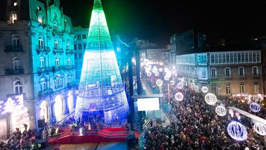 """Vigo pone en marcha la instalación de """"las mejores luces de Navidad del mundo"""""""