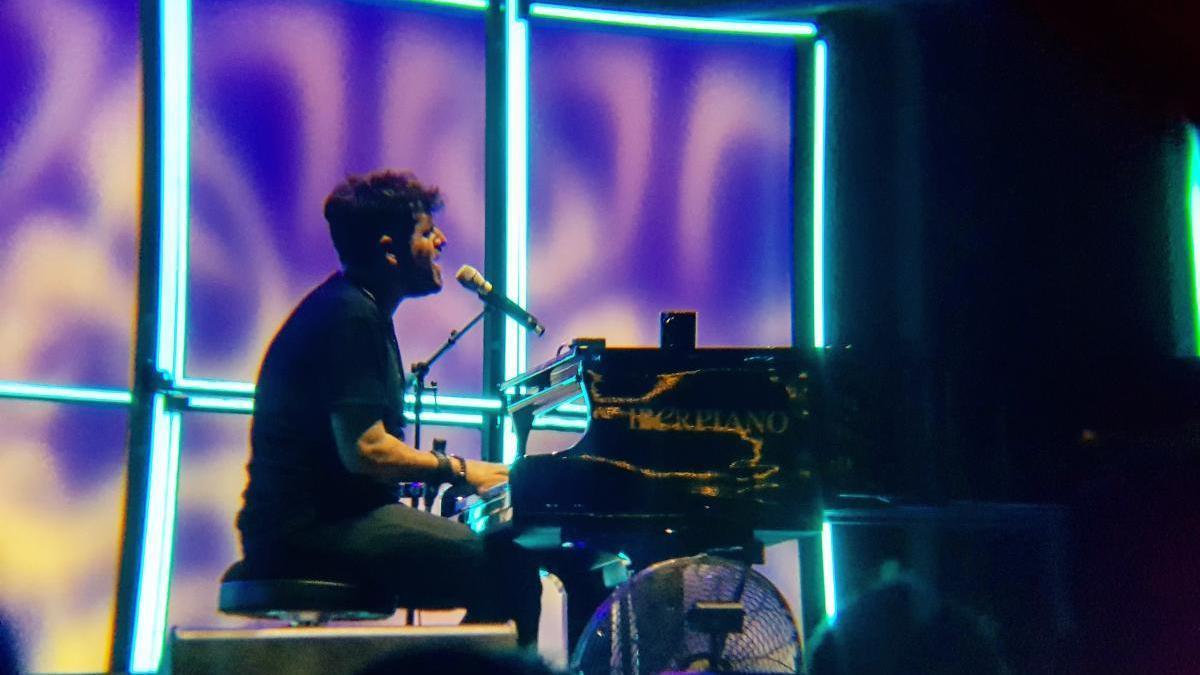 Pablo López, ayer, durante su concierto en la Plaza de Toros de Murcia.
