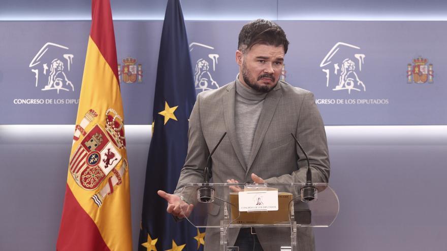 """Rufián a Sánchez: """"Lo que no haga ahora no lo va a hacer con un gobierno de PP y Vox"""""""