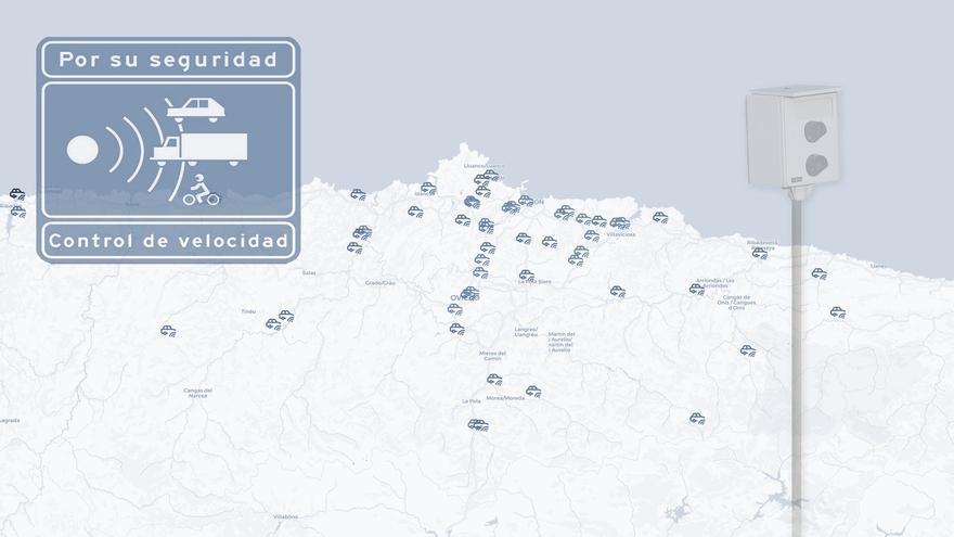 ¿Dónde están los 65 radares que Tráfico tiene en Asturias? El mapa que lo muestra