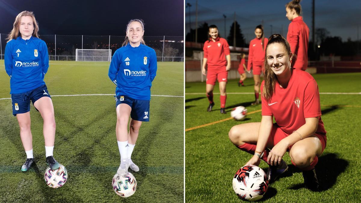 A la izquierda, María Iglesias e Isina, en el campo de entrenamiento. A la derecha, Erika, con un balón en Mareo.