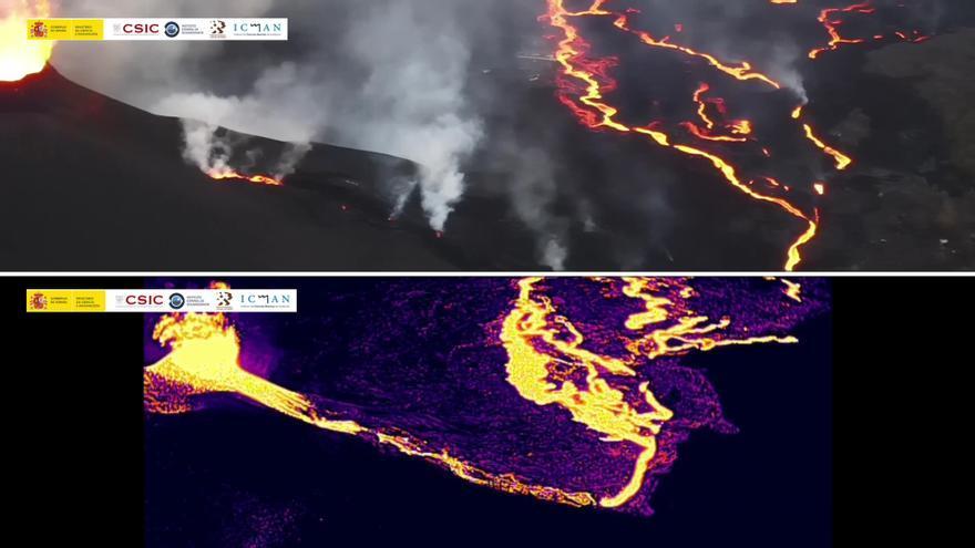Las coladas y las bocas del volcán de La Palma, al natural y en visión térmica