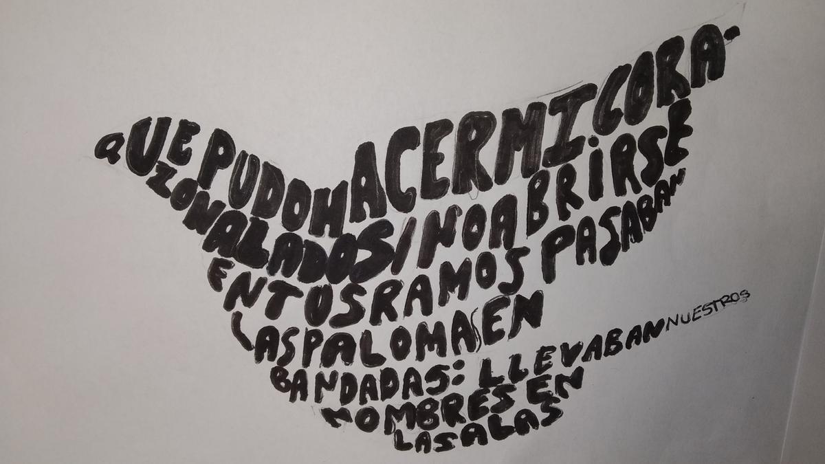 Un caligrama con forma de paloma presentado al certamen.