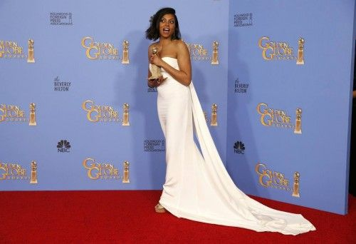 """Taraji P. Henson poses with the award for Best Performance by an Actress In A Television Series - Drama for her role in """"Empire"""" backstage at the 73rd Golden Globe Awards in Beverly Hills"""