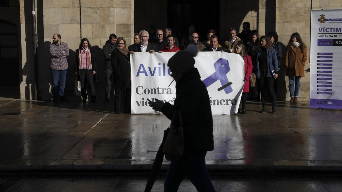 Concentración contra la violencia de género en Avilés, el pasado enero.