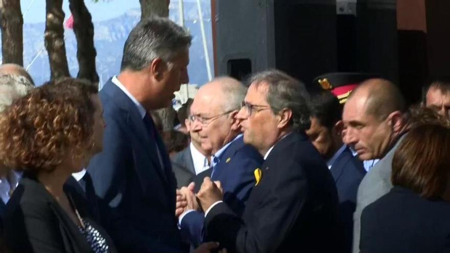 El encontronazo entre Torra y Albiol mediatiza el homenaje a las víctimas de Cambrils