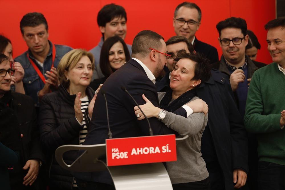 Celebración de la victoria electoral de los socialistas asturianos.