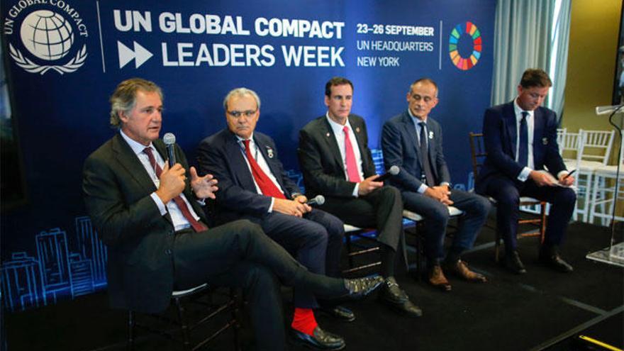 El presidente de Acciona, José Manuel Entrecanales, en la Cumbre de Acción Climática de Nueva York.