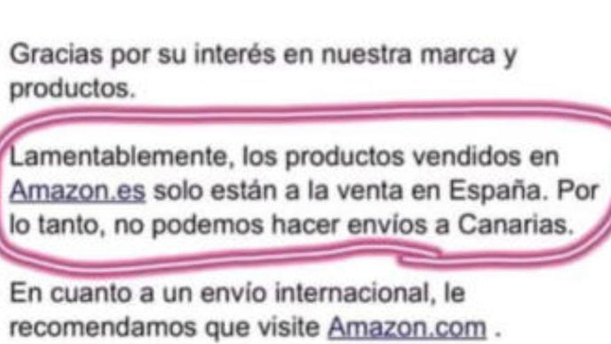 Amazon se desmarca del vendedor que no envía a Canarias porque no está en España