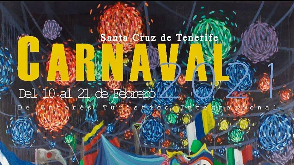 Cartel anunciador del Carnaval virtual 2021, de Sandro Burcio, elegido en votación popular.