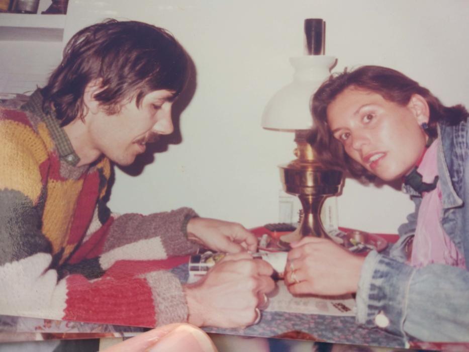 Liane y Christian, en su época hippie.