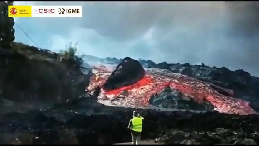 Los científicos vigilan un gran bloque desprendido del volcán de La Palma