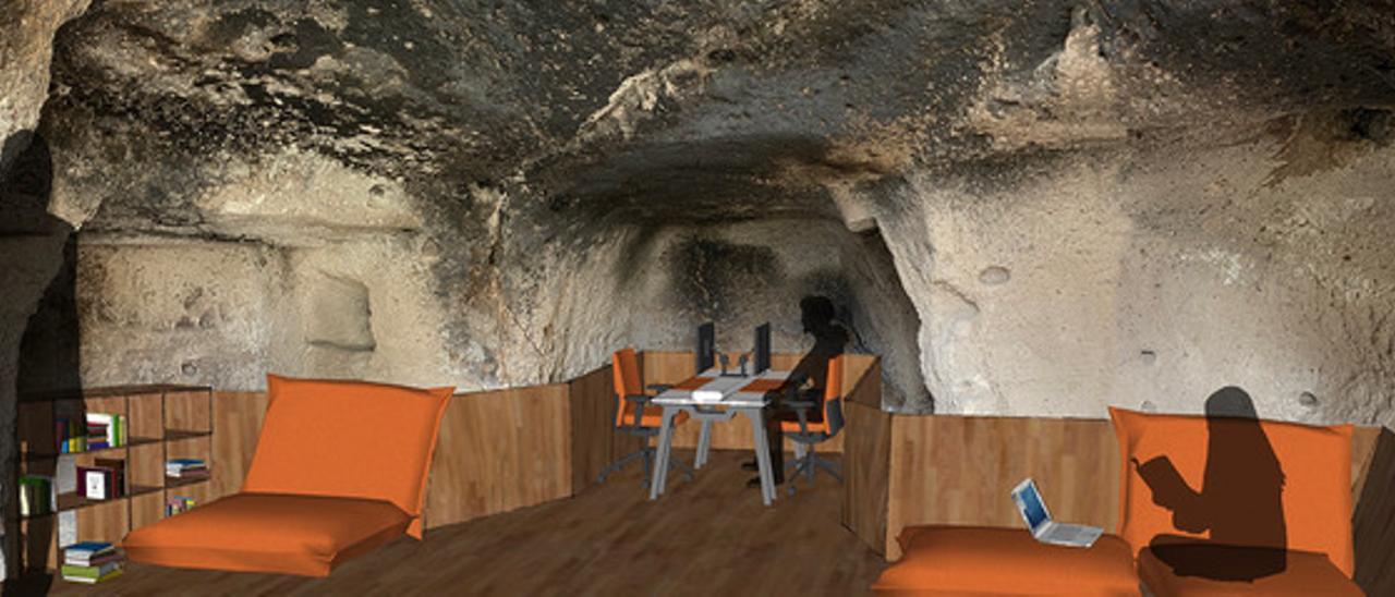 Diseño digital de cómo quedaría una de las salas de estudio y lectura en las cuevas del cortijo de San Gregorio.