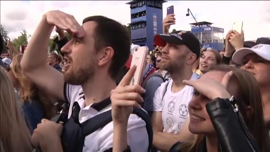 Baño de masas de la selección rusa en Moscú