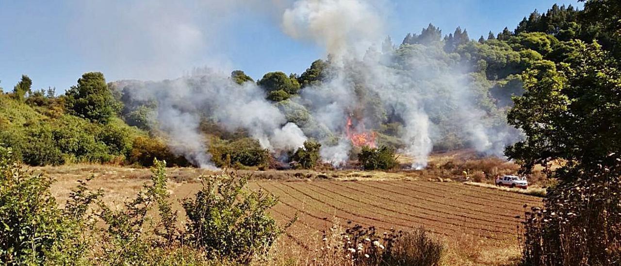 Momento inicial del incendio registrado en la tarde de ayer en la zona de Calderetas, en Valleseco.      LP/DLP