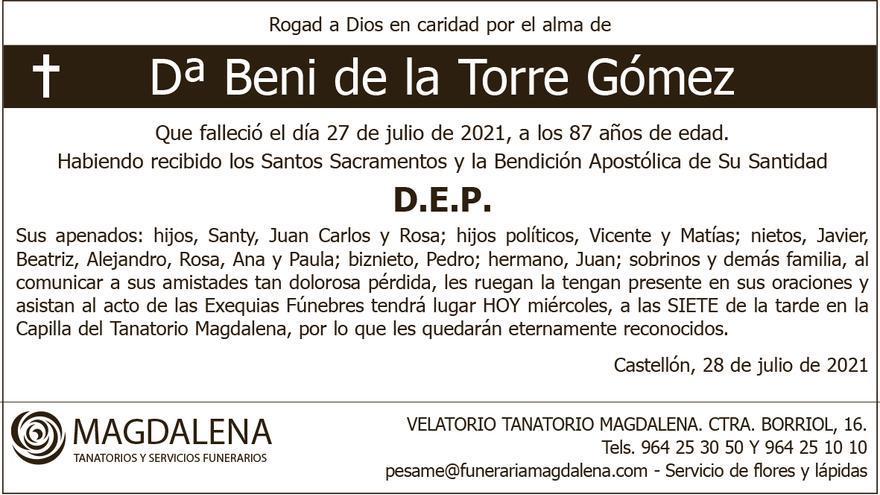 Dª Beni de la Torre Gómez