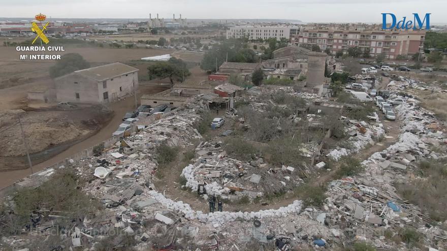 Un dron oteó desde el aire el impacto ambiental del vertedero ilegal junto al Estadi Balear