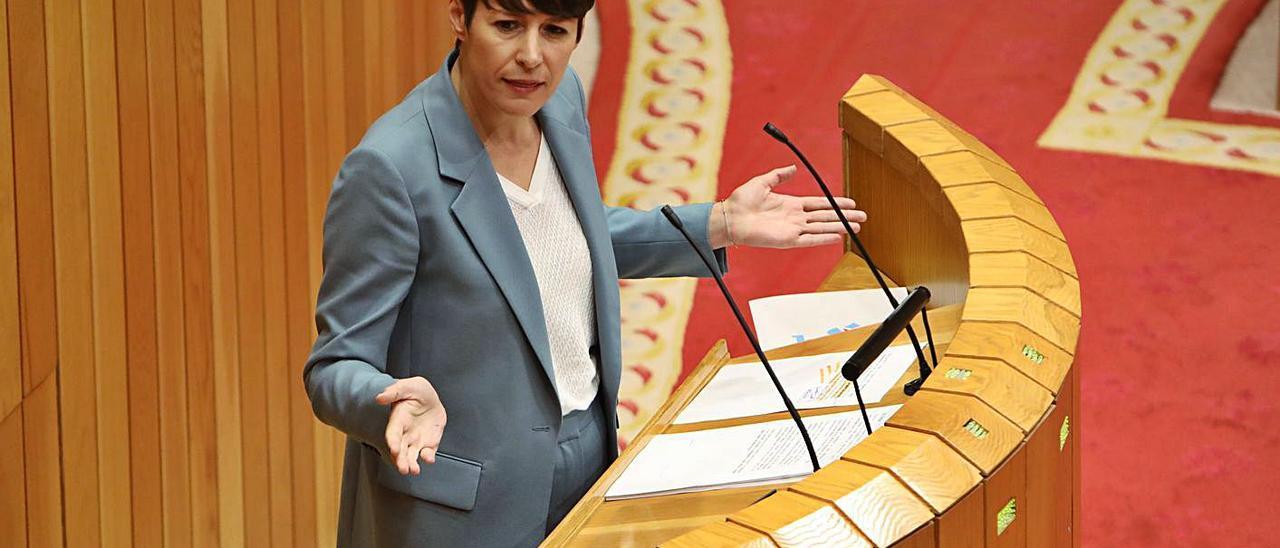 Ana Pontón, ayer, en el Parlamento.     // X. Á.