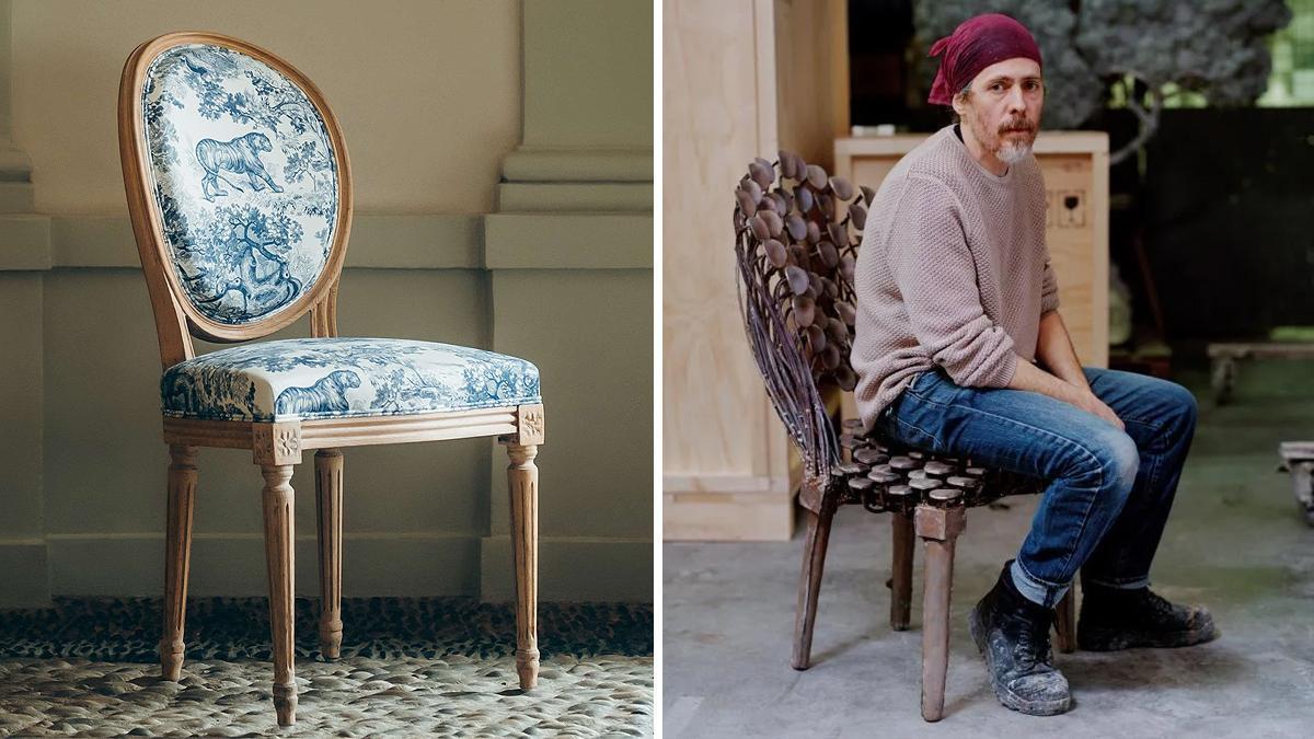 Un modelo de la silla medallón de Dior y el nuevo diseño de Nacho Carbonell.