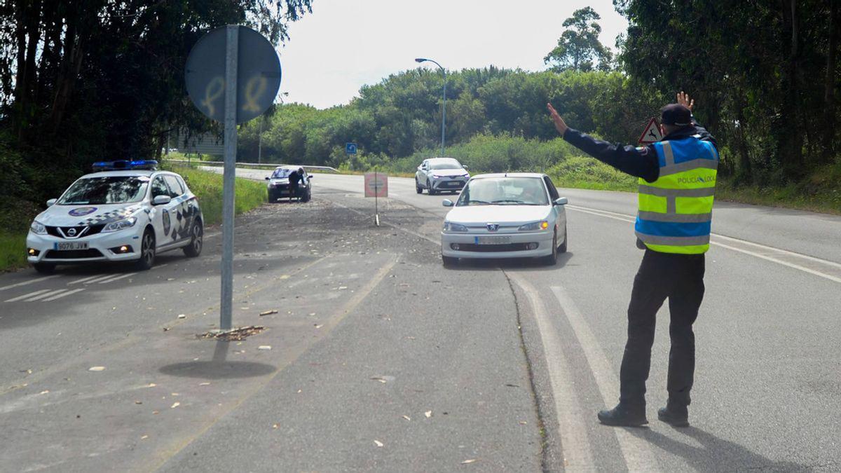Un control de la Policía Local de A Illa de Arousa
