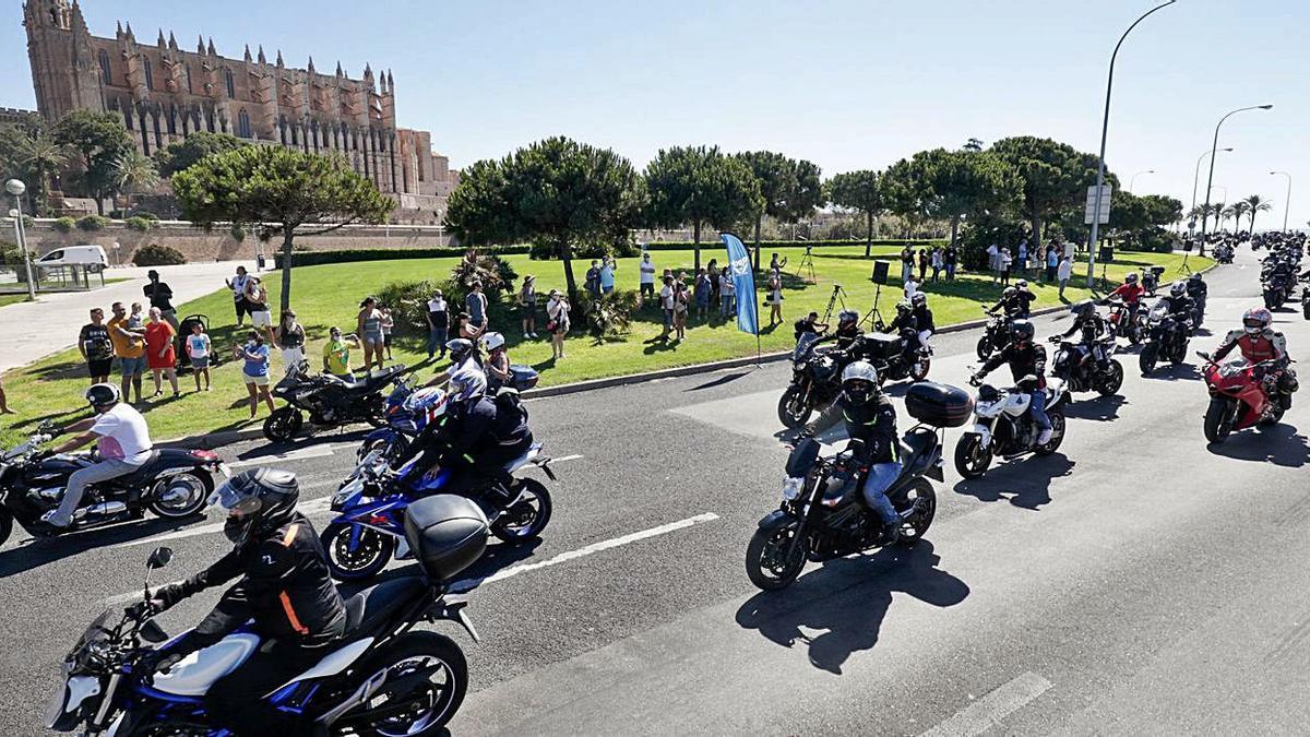 Concentración de motos frente a la Catedral de Mallorca.