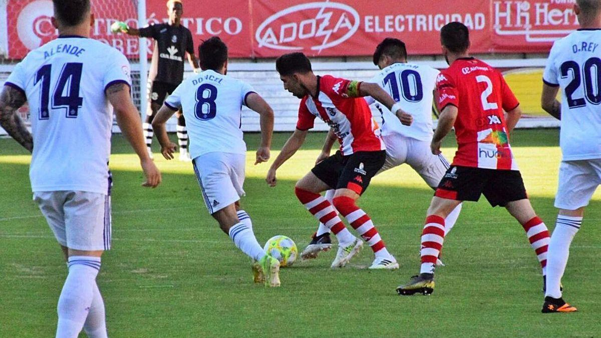 Carlos Ramos, durante el amistoso ante el Valladolid Promesas.