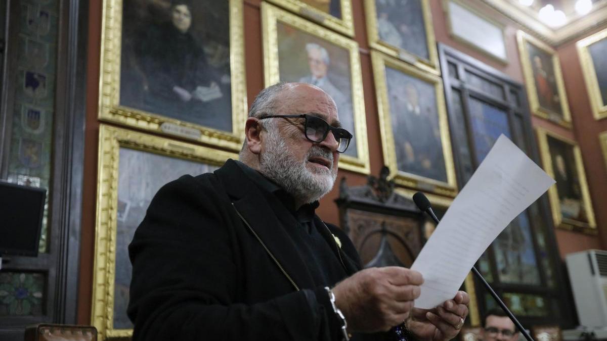 Biel Mesquida, durante la lectura del Pregón de la Festa del Estendard.