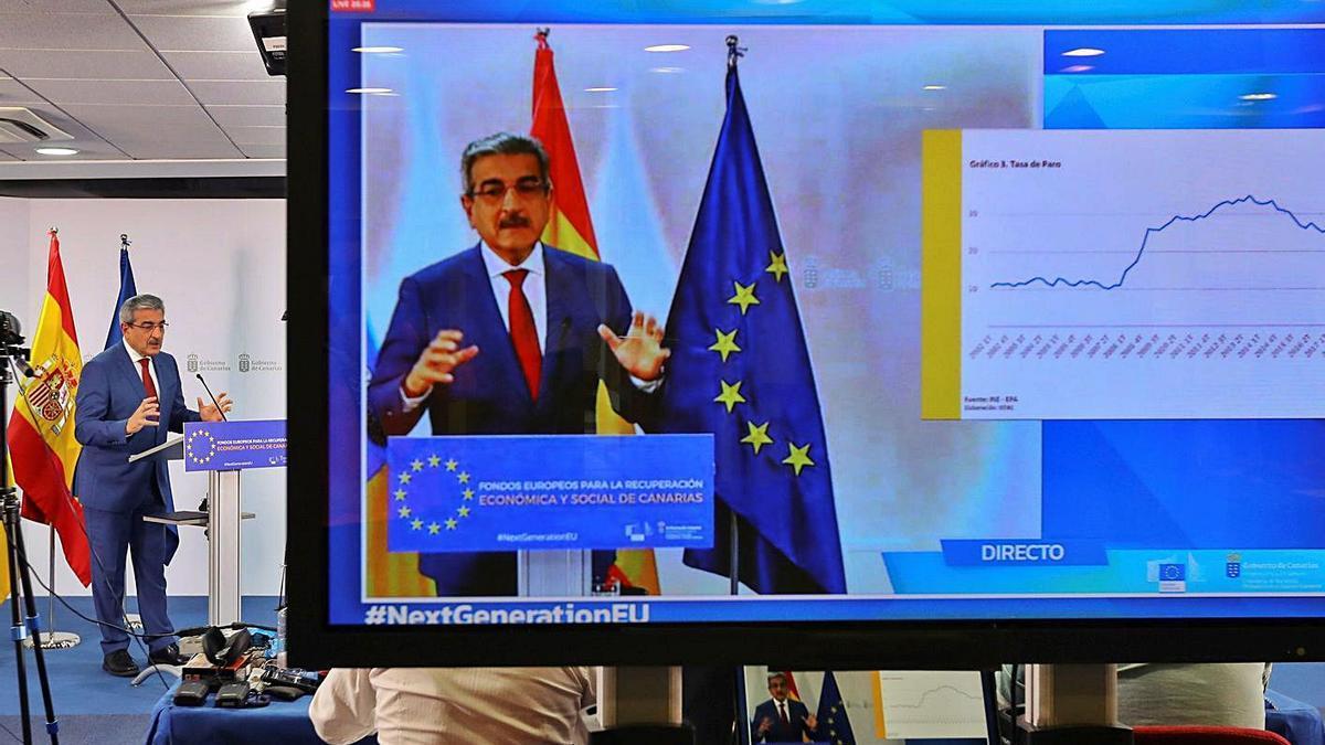 El vicepresidente y consejero de Hacienda del Gobierno de Canarias, Román Rodríguez, ayer.
