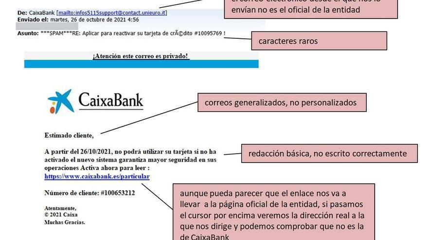 Alertan de estafas a través de correos electrónicos a clientes de Bankia-Caixabank