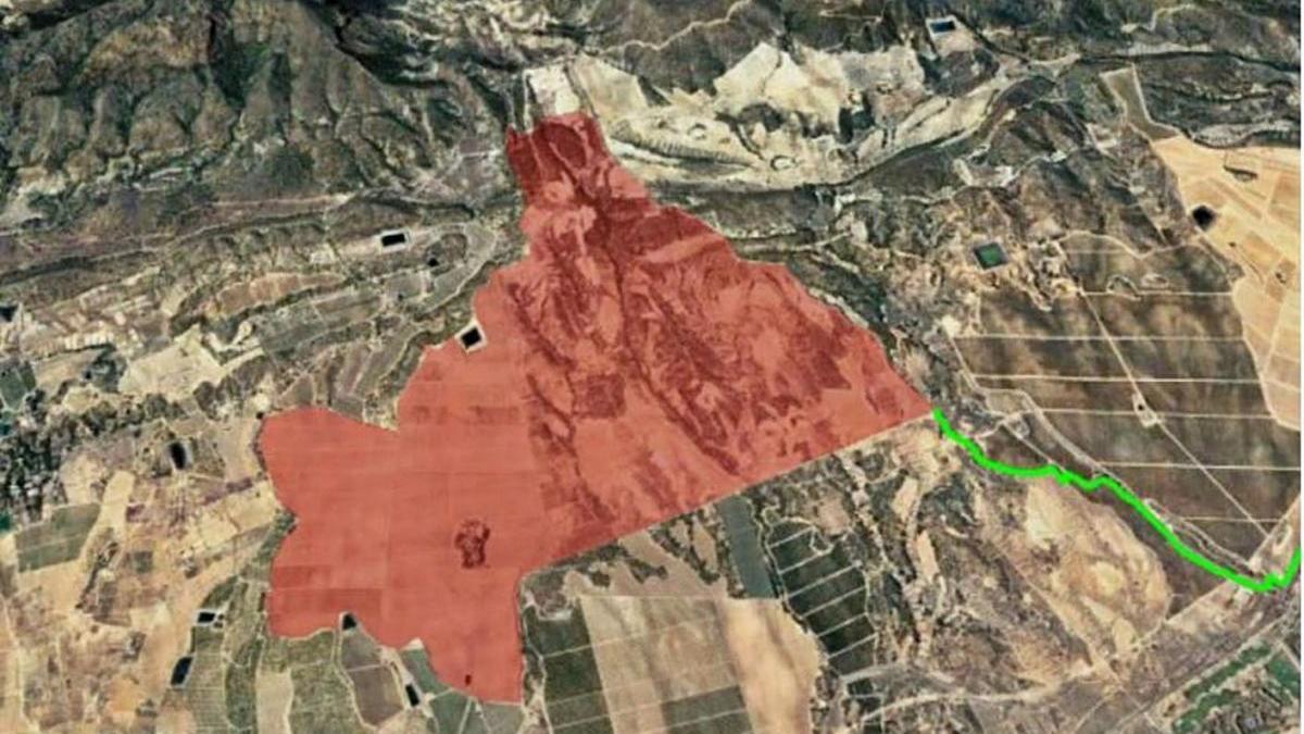 Terrenos para la ubicación de la planta solar fotovoltaica al sureste de Murcia.