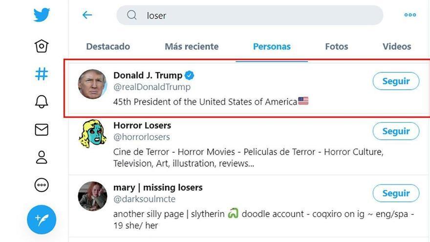 Twitter muestra la cuenta de Trump al buscar la palabra 'perdedor'