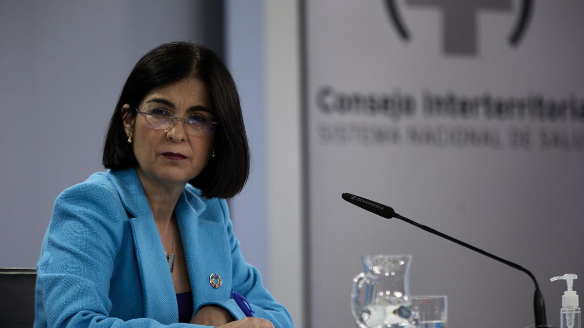 La ministra de Sanidad, Carolina Darias comparece en una rueda de prensa posterior a la reunión del Consejo Interterritorial del Sistema Nacional de Salud (CISNS) en el Complejo de la Moncloa, a 12 de mayo de 2021, en Madrid (España). La incidencia acumul