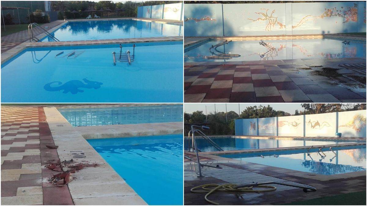 Montaje de imágenes de los desperfectos sufridos en la piscina de Geldo.