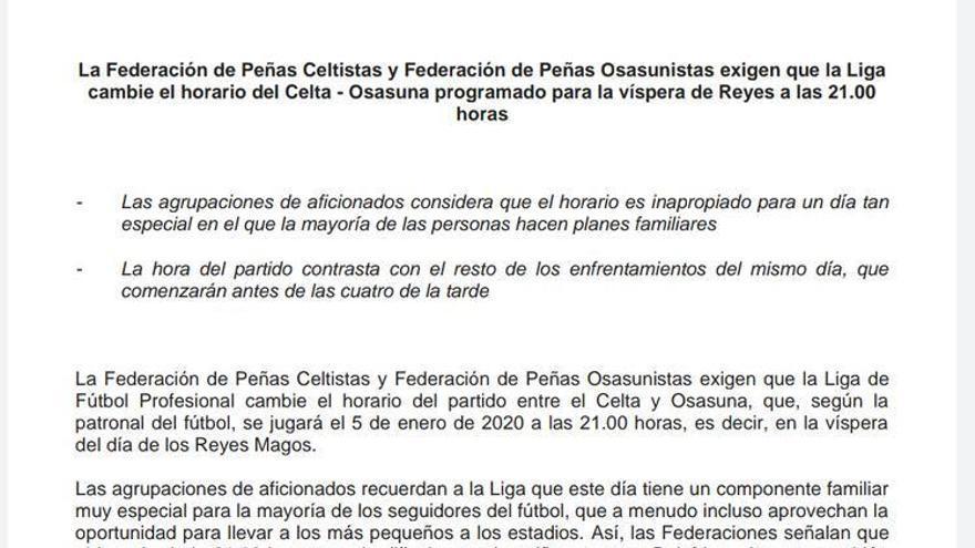 Las federaciones de peñas de Celta y Osasuna exigen el cambio de horario del partido del 5 de enero