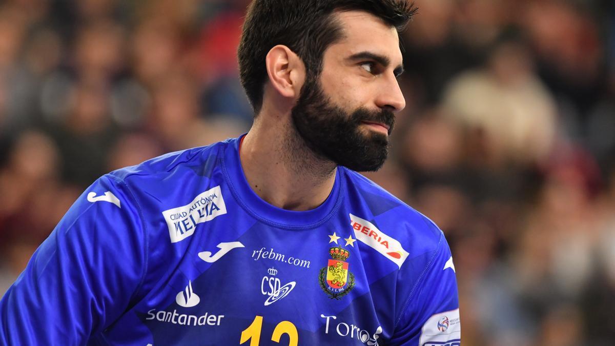 Rodrigo Corrales, en un partido de la selección española.