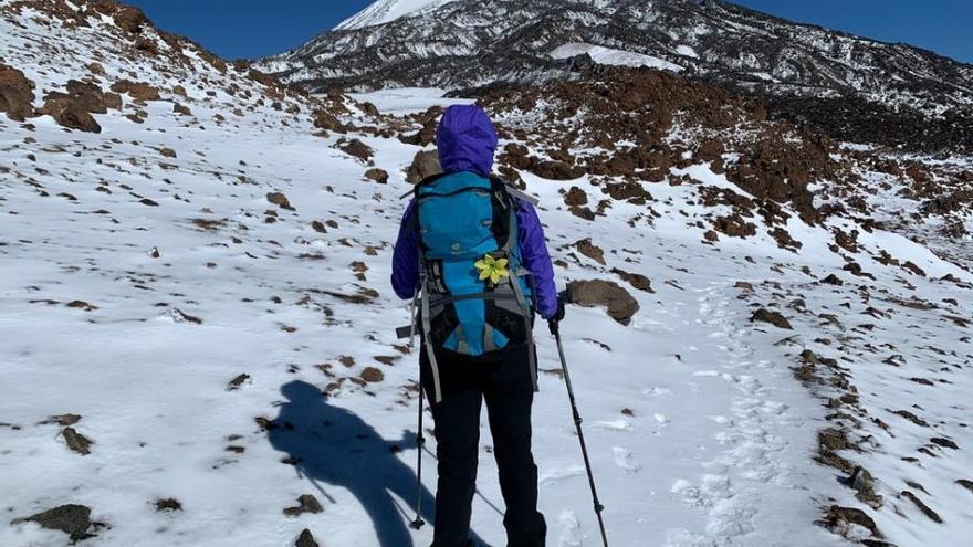 De caminata por las nieves del Teide