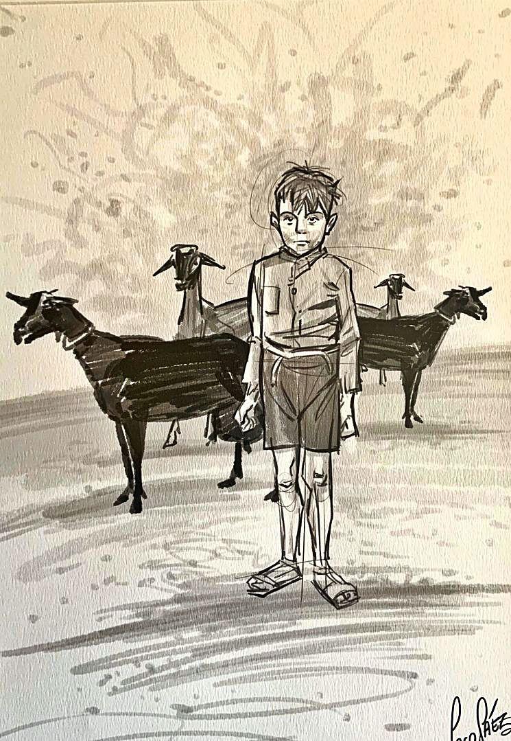El poeta, en un dibujo de Paco Sáez.