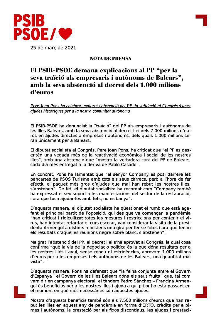El PSOE se abstiene a pedir el REB y el PP, a que lleguen mil millones en ayudas a Balears