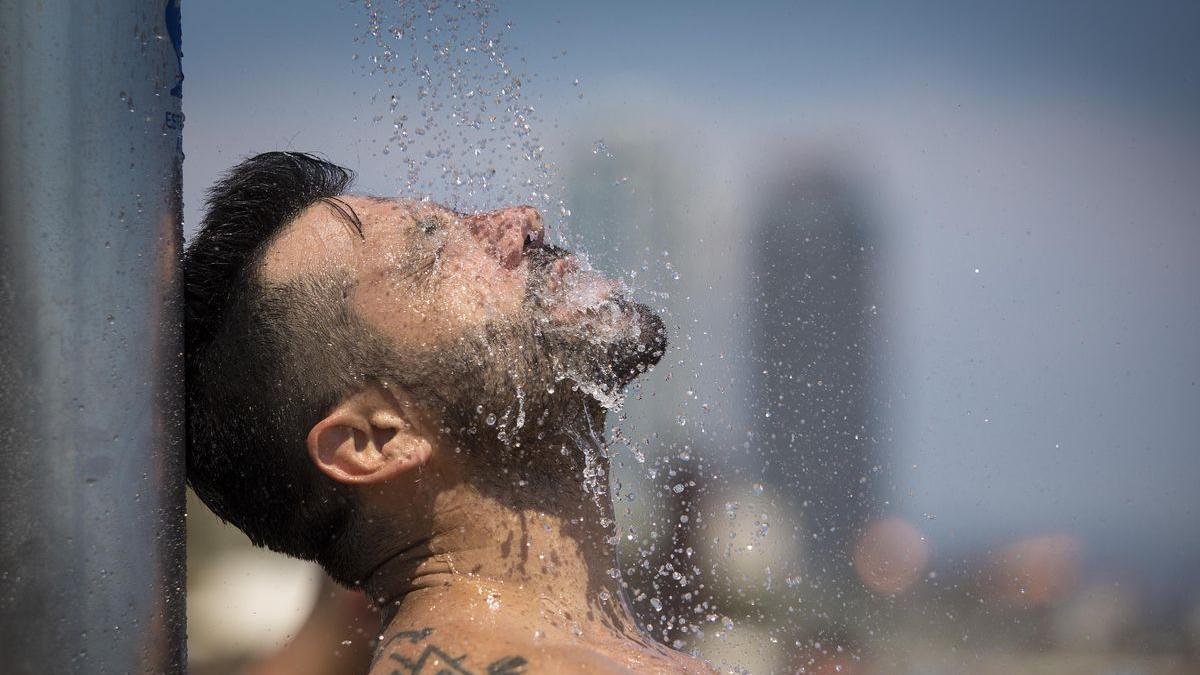 Un banyista es remulla a la platja de la Barceloneta